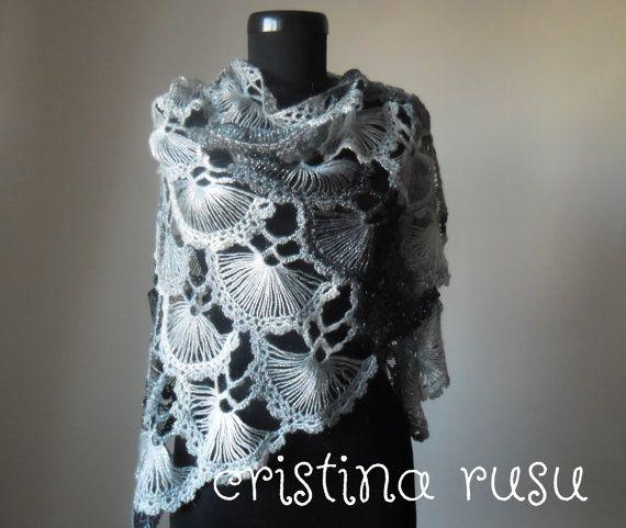 Hand crochet triangle lace shawl wrap White by CrisColourCrochet