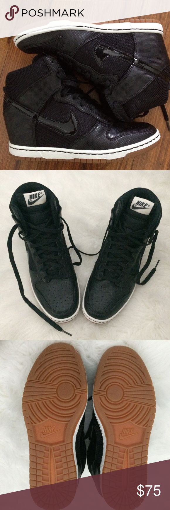 NEW ~ Nike Dunk Sky Hi Wedge Sneaker (Size 8.5) NEW ~ Nike Dunk Sky High Mesh Black Wedge Trainers in US Women's Size 8.5. Hidden heel wedge and gum sole.  Never worn, only to try on. I typically wear a US Size 8.5 (depending on the brand), but are pretty much true to size. Good street wear, comfy, and fashionable.                                                                                                      Comes with original box (slightly bent due to storage).  See photos for…