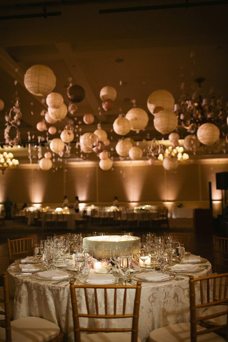 Modern elegant ballroom wedding hanging decorations