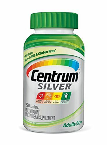 Centrum Silver Adult Multivitamin / Multimineral Supplement Tablet, Vitamin D3, Age 50+ (220 Count):   With our highest levels of vitamin D3, Centrum Silver multivitamins are age-adjusted with a broad spectrum of nutrients that help support the health of adults 50+. Featuring a smooth coating that's easy to swallow, Centrum Silver includes key nutrients to help support your heart, brain and eyes.(4)* Plus, Centrum Silver is now verified non-GMO and gluten free.(1) Backed by over 35 yea...
