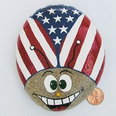 Image result for red white blue painted rocks