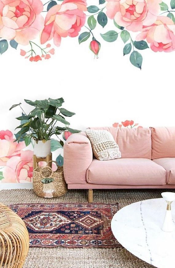 floral bohemian wall mural self adhesive removable wallpaper