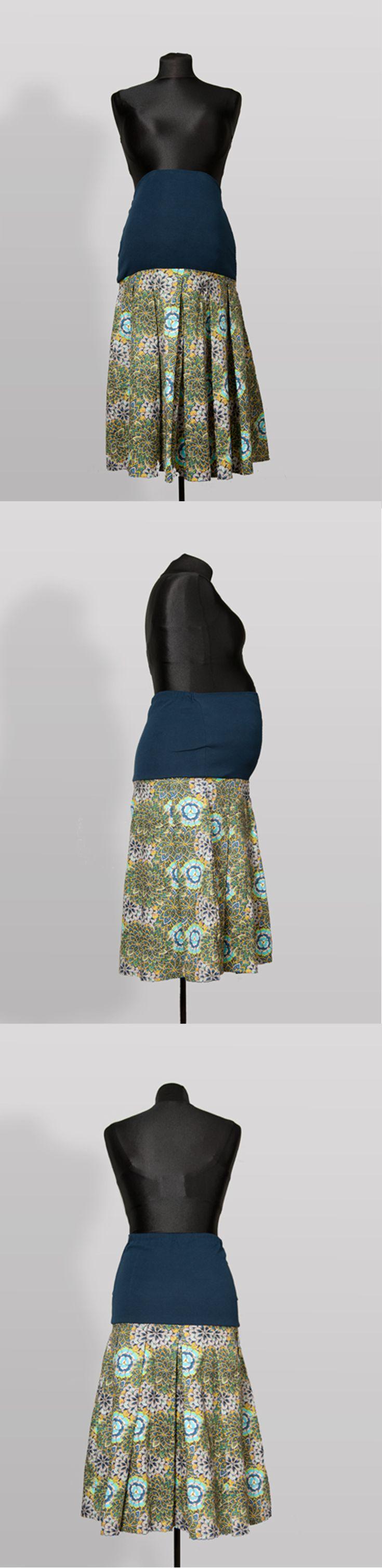 SK005 – Sukně Pro páva Těhotenská sukně z bavlněné látky s pružným pásem Ideální do práce Pružný pás pro zvětšující se bříško Pás je možné nosit přes bříško nebo ohnutý Sukni je možné nosit i po těhotenství