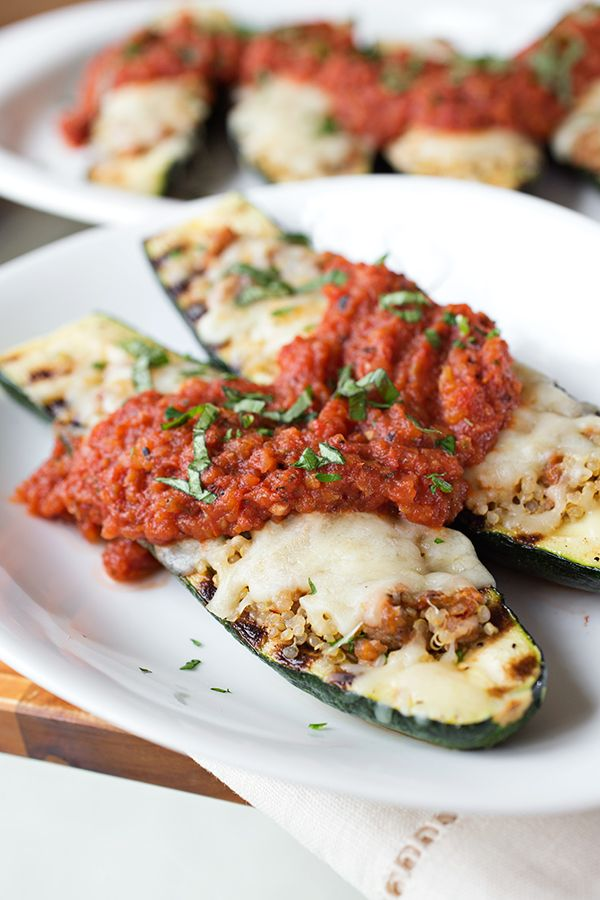 Cheesy Italian Grilled Zucchini Boats stuffed with Spicy ...