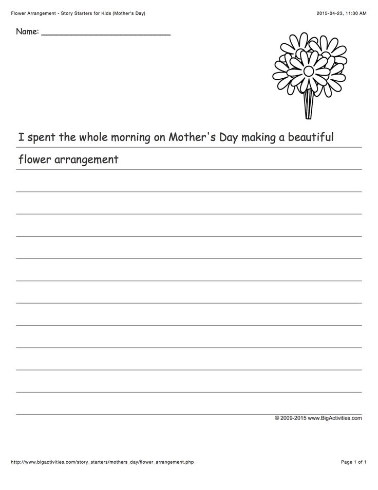 Mother's Day creative writing prompt featuring a flower arrangement (story starter for kids)