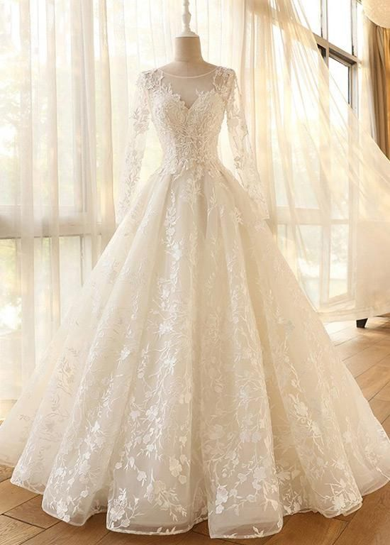 Long Sleeves Tulle Appliques Lace Wedding Dresses – Angrila