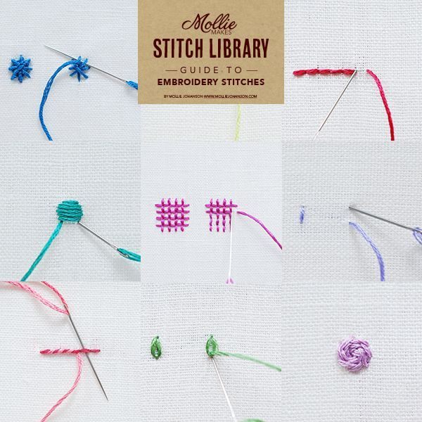 Learn 17 embroidery stitches with our handy guide. Bookmark or Pin this page for future reference or you can download and print it here.