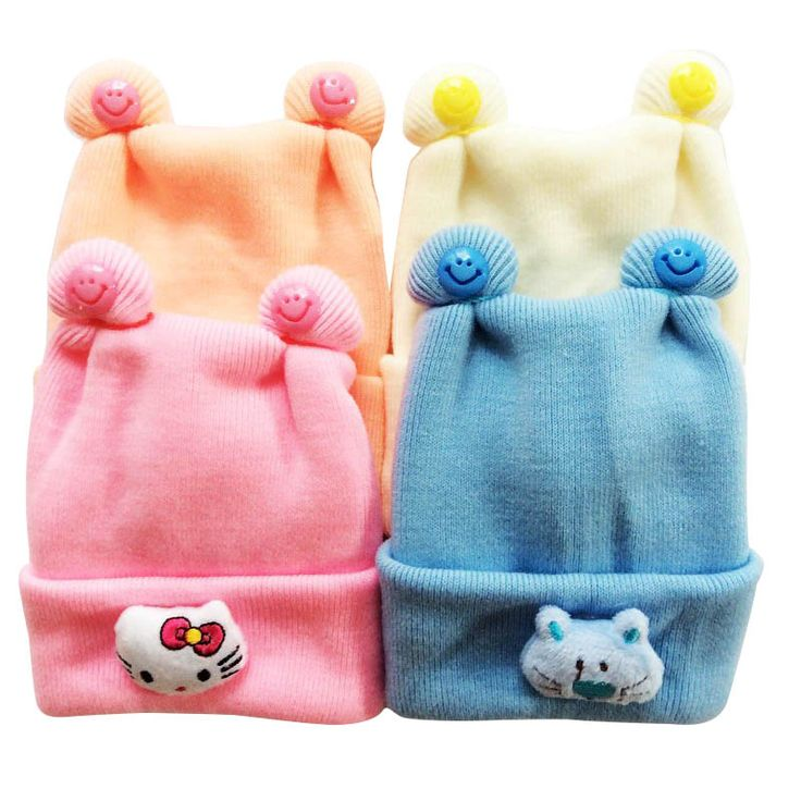 Baby Hats Cotton Knitted Hats For Newborns Cartoon Kitty Infant Winter Hats Baby Ear Caps 0 to 3 months