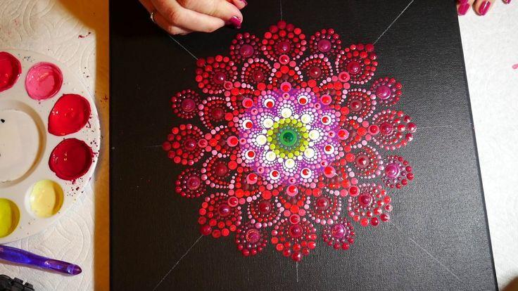 How to paint rock mandalas #15-  Red Dahlia