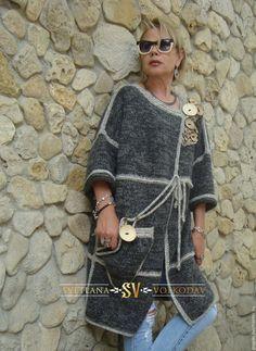 Купить Пальто вязаное с пуговицами авторское - серый, пальто, вязаное пальто, пальто женское