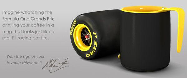 F1 tyre mug