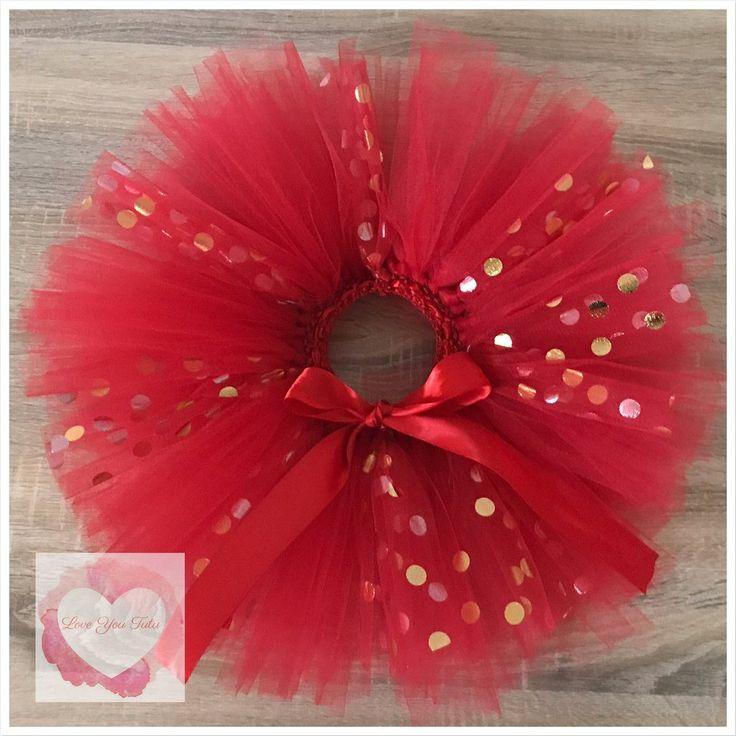 Red and gold metallic dots short Tutu skirt