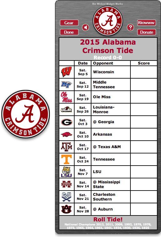 Free 2015 Alabama Crimson Tide Football Schedule Widget - Roll Tide! - National Champions 2012, 2011, 2009, 1992, 1979, 1978, 1973, 1965, 1961, 1941, 1934, 1930, 1926, 1925 http://riowww.com/teamPages/Alabama_Crimson_Tide.htm