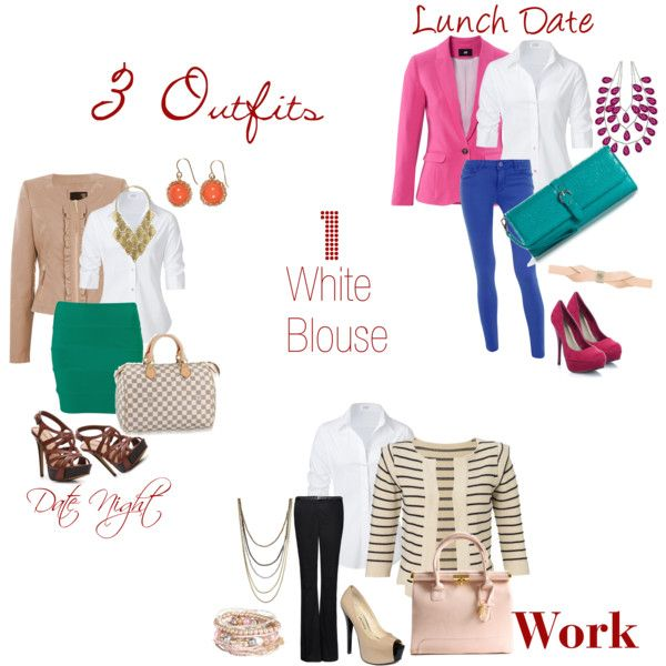 White Blouse Polyvore Outfits 50