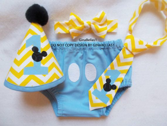 Mickey Mouse Birthday cake smash chevron baby blue by GinaBellas1