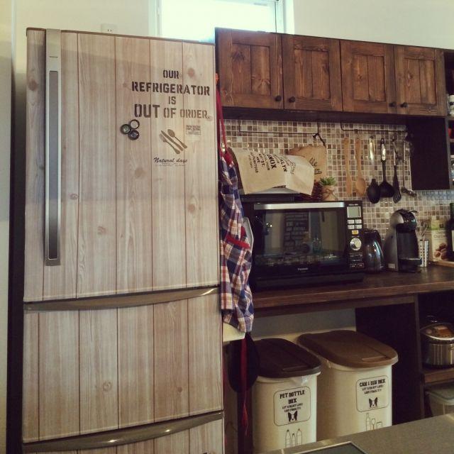 yu_chanさんの、キッチン,ステンシル,手作りステンシルシート,ばす、トイレではないです,冷蔵庫リメイク,キャンドゥリメイクシート,セリア転写シール,セリアマグネット,ごみ箱リメイク,のお部屋写真