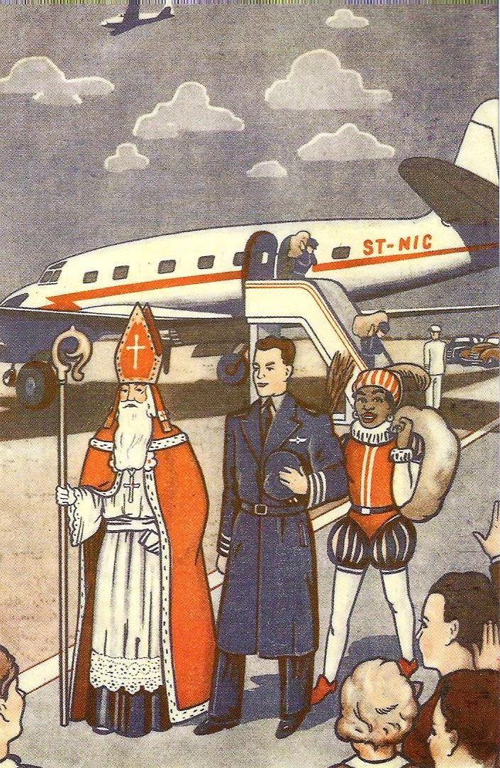 Sint en Piet komen aan per vliegtuig