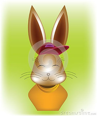 Brown #rabbit #bust dressed in #sport #outfit: purple cap and orange blouse, on green background