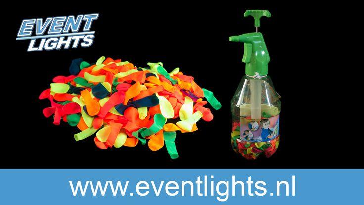 #UV #Splash #water bommen pomp met 250 #Fluo water bommen UV Splash verf waterbommen: de hit van de zomer! Vul gewoon de water bommen met onze UV Splash verf en geniet van de kleurrijke feest!