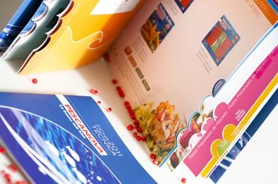 sea products catalogue, colorful, positive design