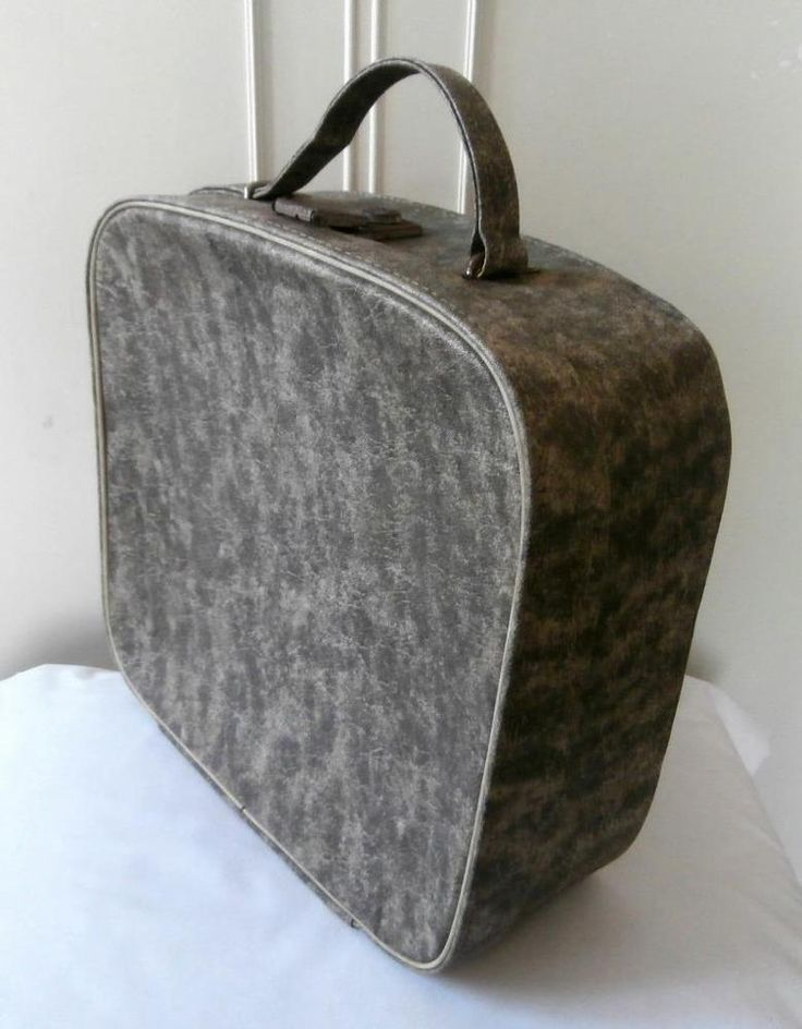 Vintage 1960's Rockabilly Marbled Grey & Cream Vinyl Vanity Case Travel Bag