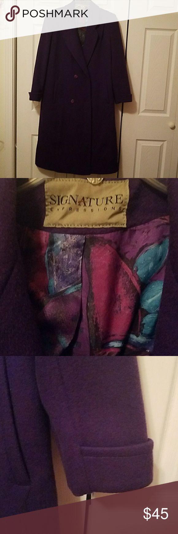 Signature  Expressions Ladies long Coat FULLY LINED, SIDE POCKET, POCKETS INSIDE COAT. signature Jackets & Coats