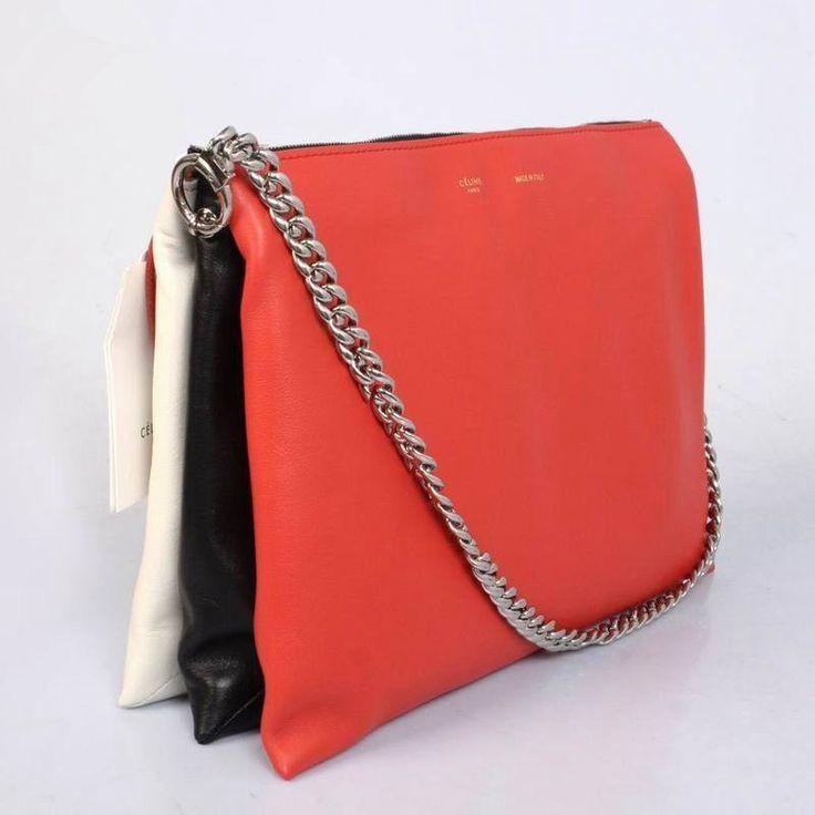 Celine Clutch Flap Bag Red Black White