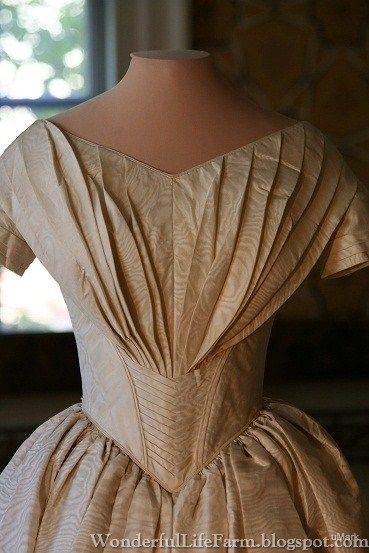 1844 wedding gown close-up; costume exhibit at Strawbery Banke, Portsmouth, NH. (Wonderful Life Farm: Costume Exhibit)