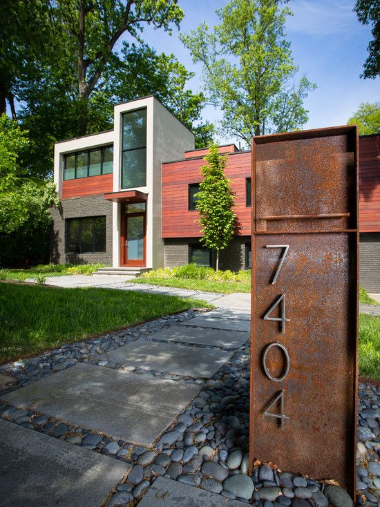 Various Fence Mounted Mailbox Design : Contemporary Exterio With Steel Mounted Mailbox With House Numbers Also Concrete Path With Gravel Sto...