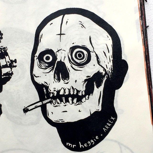 Screenprintedbookrx detail arrexskulls arrex skull sticker streetart slap
