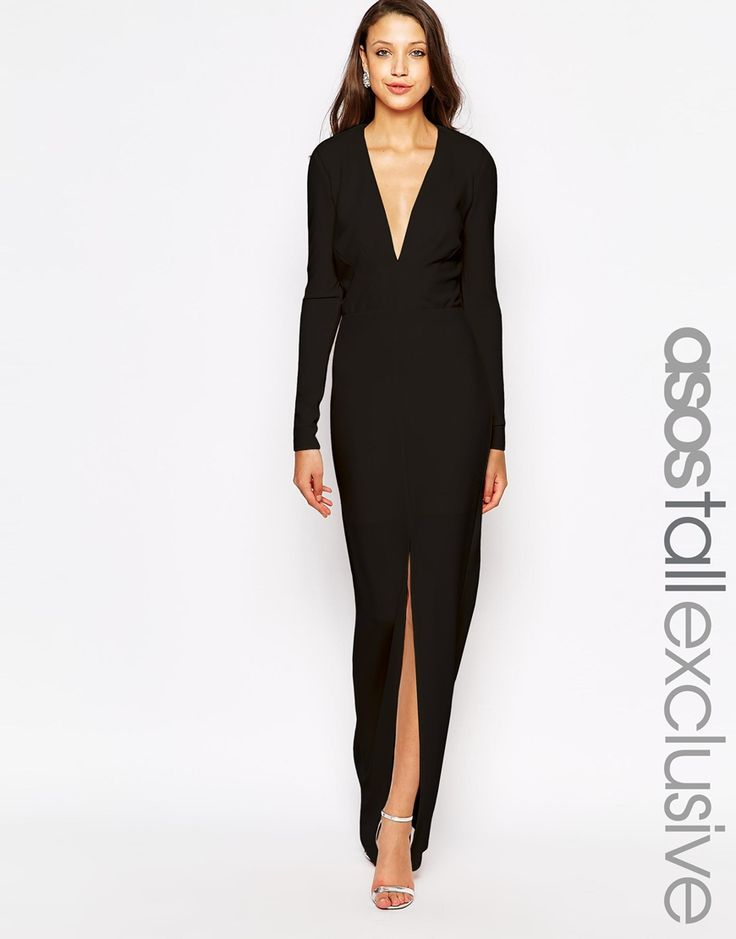 Image 1 of ASOS TALL Deep Plunge Maxi Dress in Crepe