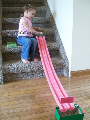 Race marbles on this track! This gal has a great blog for kiddy crafts and ideas.