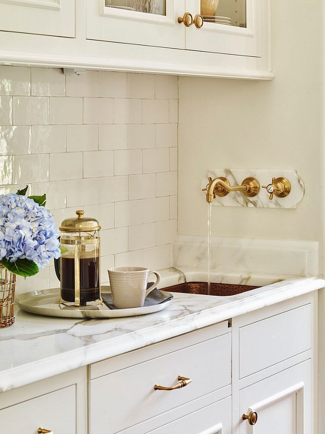 Butlers Pantry Boasts A Hammered Copper Sink Placed Under Wall Mount Gold Spigot Faucet JackBilt Homes