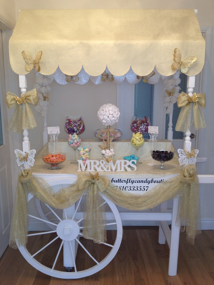 Gold & White Candy Cart ideal for weddings etc