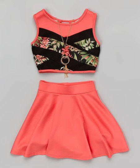 Just Kids Coral Floral Color Block Crop Top Set - Girls | zulily