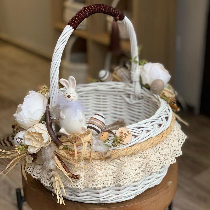 могут быть украшенные корзины на пасху фото простой, ровной формой