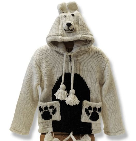 Kids Hand Knit Jacket with Hood 100% Wool with Polyester fleece lining Each one…