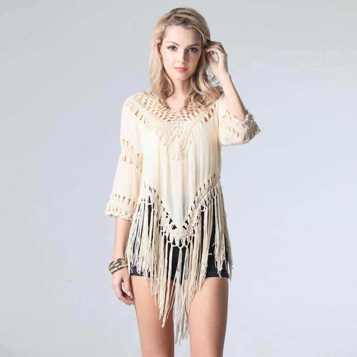 Women Loose Tassel Pullovers Bikini shirts Boho Top Beach Cover-Up Swimsuit Tunic Hollow Out Knitwear Fashion 2016 Pullover 9612