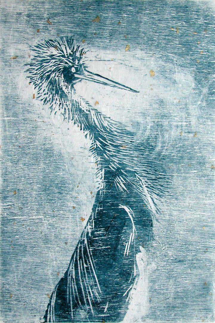 Jurgita Gerlikaite. A Crane. 2005. Woodcut on rice paper. Inspired by 'Birds' & David Attenborough