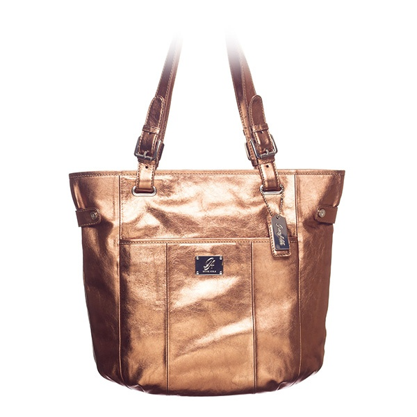 """Bella Leather Bag Bronze **Beautiful Bella is crafted in rich leather, making it the perfect daily statement bag and suitable for every occasion.    • Genuine leather  • 15"""" L, 13"""" H, 4.25"""" W  • Handles with 10.25"""" drop  • Exterior pocket fits any Grace Adele Clutch"""