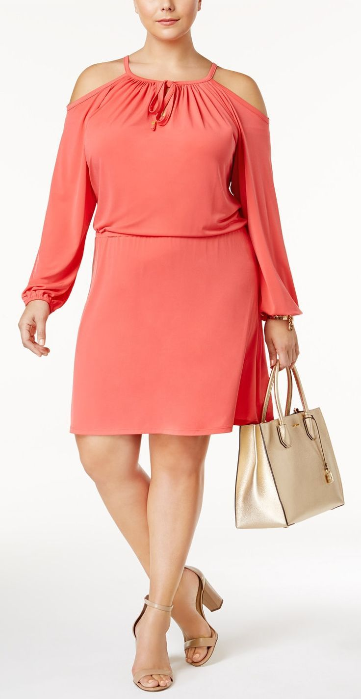 Plus Size Cold-Shoulder Blouson Dress