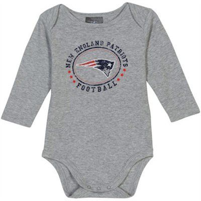 Gerber New England Patriots Infant Round and Round Long Sleeve Onesie - Gray