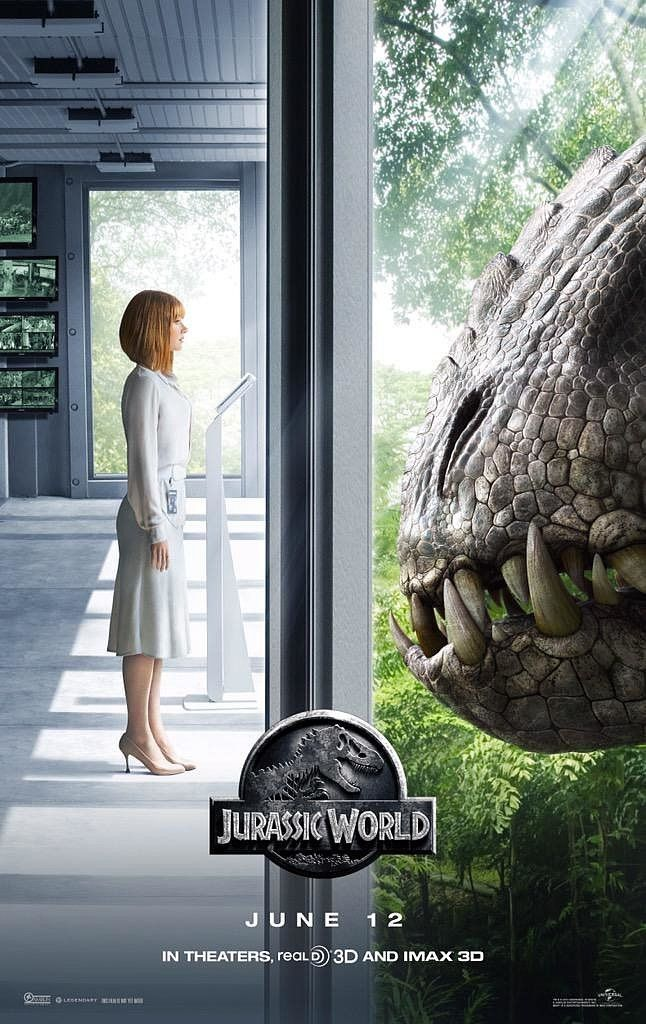 """Would you be as calm as Bryce Dallas Howard when only a pane of glass separates you from a gigantic dinosaur? Jurassic World director Colin Trevorrow shared a new poster on Friday, tweeting the quote: """"How can we stand in the light of discovery and not act?"""""""