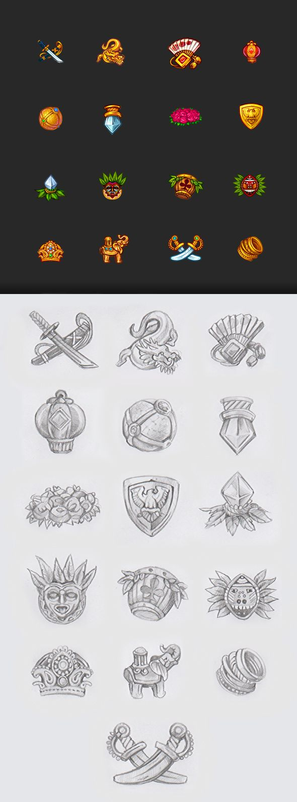 Icons for the game slot-machine by SLOTOPAINT game design, via Behance