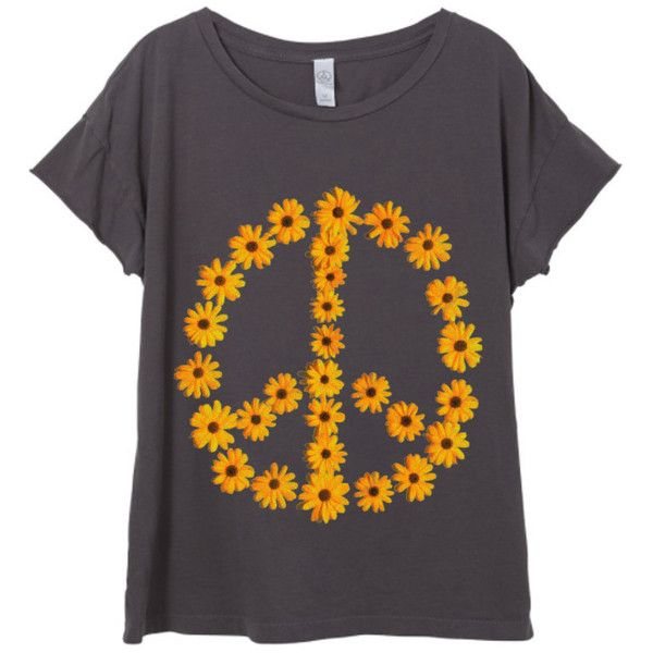 Womens Boho Vintage Sunflower Peace Sign Festival Shirt Trendy Yoga... ($28) ❤ liked on Polyvore featuring tops, t-shirts, white, women's clothing, vintage tees, retro t shirts, peace t shirt, short sleeve tops and white t shirt
