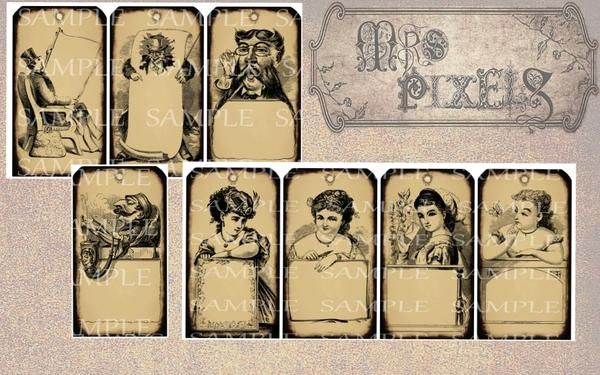 Antiqued look tags set has four men and four women images with good old fashioned Victorian style. In neutral tone and dark brown edges to highlight, the illustrations are uniquely detailed and have a space to write a little note. Fun for creating gift tags that are sure to add charm to any item you attach them to. #GiftTags #printable #downloads #Victorian #illustrations #women #men