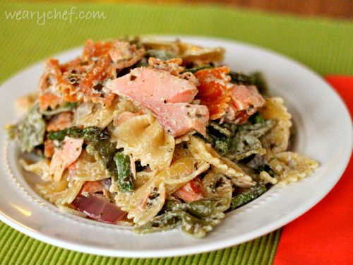 Pesto Pasta Salad with Smoked Salmon and Roasted Asparagus | The Weary ...