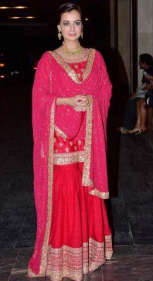 Wedding guest style - Sangeet - Dia Mirza in a red & hot pink Sabyasachi sharara 1 - Masaba Gupta and Madhu Mantena Wedding 2015