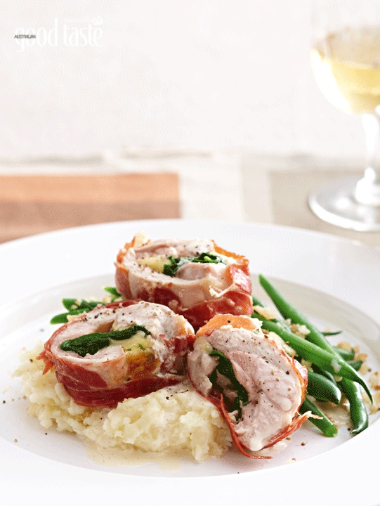 Home Cook of the Year 2010 winner Kirsten Moore's Proscuitto-wrapped chicekn on parship mash