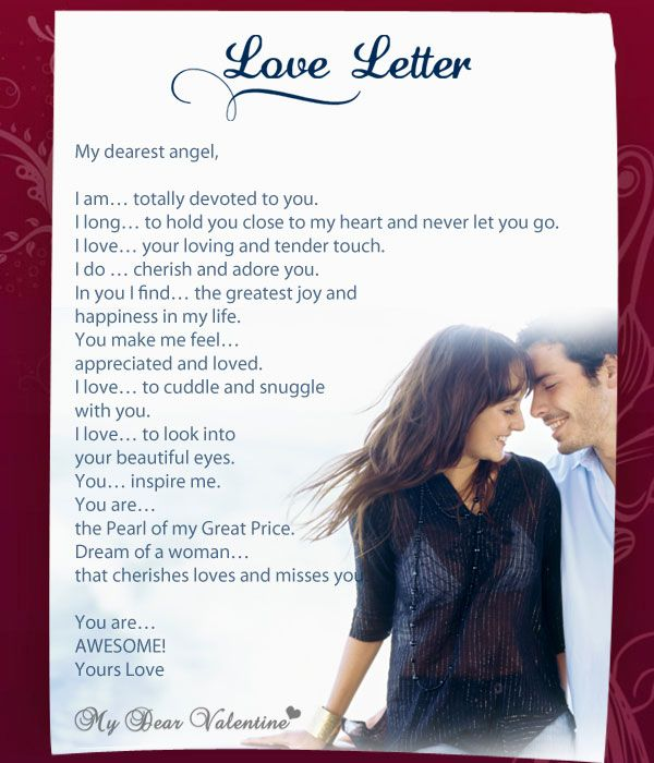 Searching for Love Letters for Her? Visit us now to read & share Sweet Love Letter to Her, Beautiful Love Letters to Her, submit your own letter & more! Ask A Question. Love. Having to know you is such a special feeling my love. Your cute gestures to make me smile and those faces that you make. The special gifts that you get for and the.